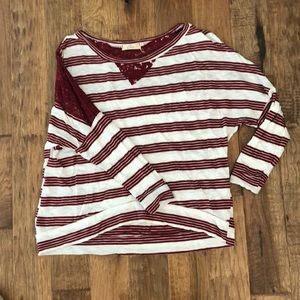 Worn once maroon and lace strip top